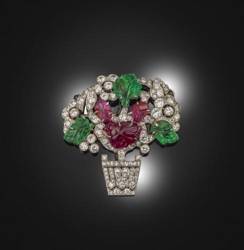 A platinum & diamond Tutti Frutti brooch Signed Mauboussin