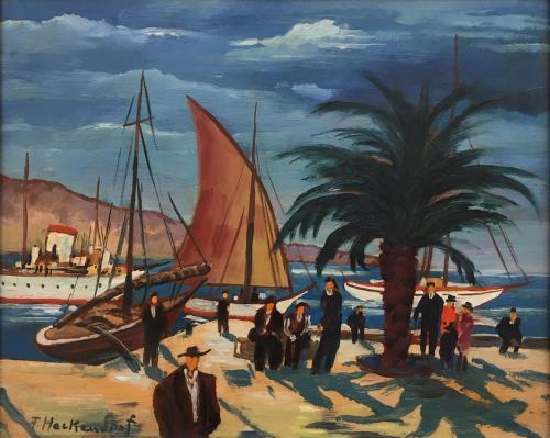 Mediterranean Harbour by Franz Heckendorf (1888-1962)