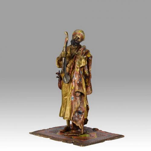 "Austrian Cold Painted Bronze Study ""Arab Arms Dealer"" by Franz Bergman"