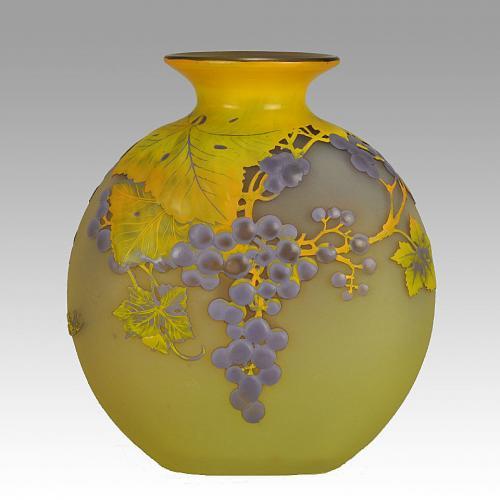 """Art Nouveau French Soufflé Vase """"Raisins"""" by Emile Gallé"""