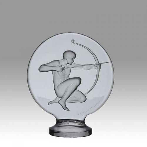 """Art Deco Clear Glass Car Mascot  """"Archer"""" by René Lalique"""