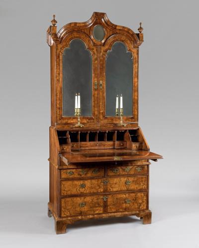 A superb Queen Anne period veneered walnut bureau bookcase in 3 parts