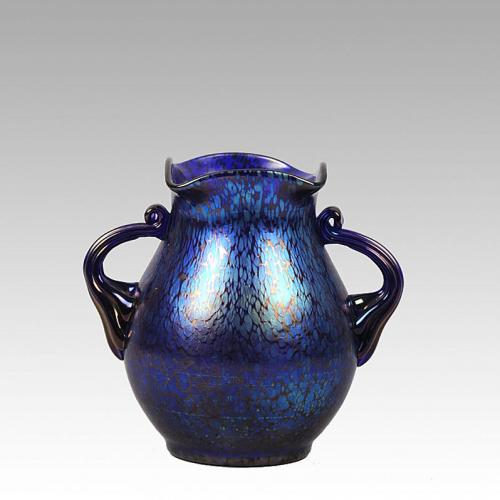 "Art Nouveau Iridescent Glass "" Blue Papillon"" Vase by Johann Loetz"