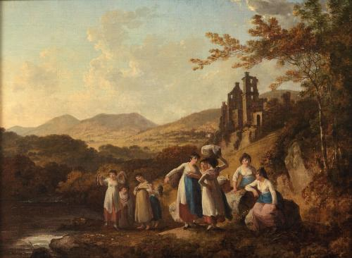 Julius Caesar Ibbetson (1759-1817) Roslin Castle with Washer Women by the North Esk River Oil on canvas, 30 x 41 cm.