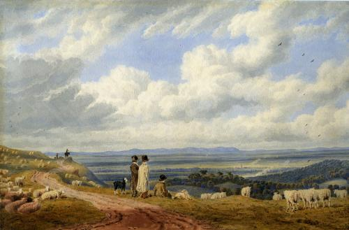 William Turner of Oxford (1789-1862) A view looking towards Cheltenham, with the Malvern Hills beyond Watercolour