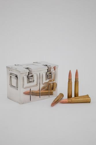 Silver cigarette box modelled as a British Army Bren gun ammunition box