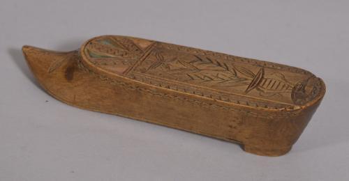 S/3336 Antique Treen 19th Century Apple Wood Snuff Shoe