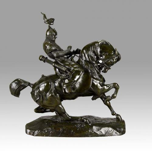 "An Important Animalier Bronze Study ""Guerrier Tartare Arrêtant son Cheval"" by Antoine Barye a"