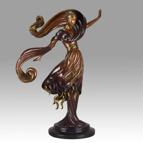 Limited Edition Cold Painted Bronze Figure 'Flames of Love' by Erté