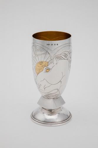A finely chased silver court cup with gold highlights by Rod Kelly