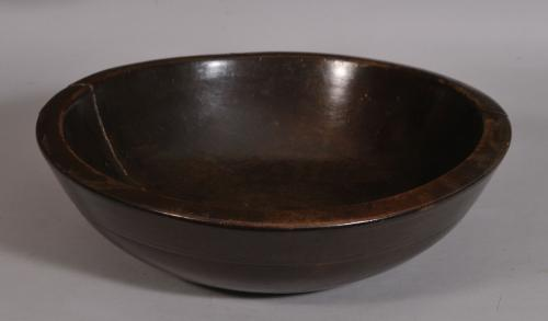 S/3321 Antique Treen 18th Century Cherry Wood Culinary Bowl