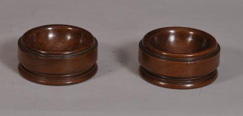 S/3348 Antique Treen 19th Century Pair of Walnut Salts