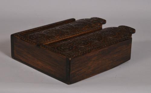 S/3341 Antique Treen 19th Century Norwegian Birch Knitting Needle Box