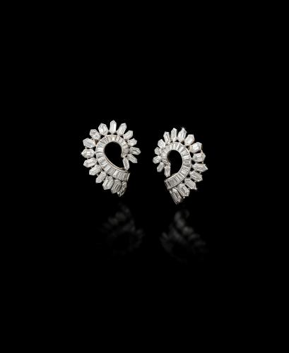 Pair of diamond clip earrings by Boucheron, circa 1930