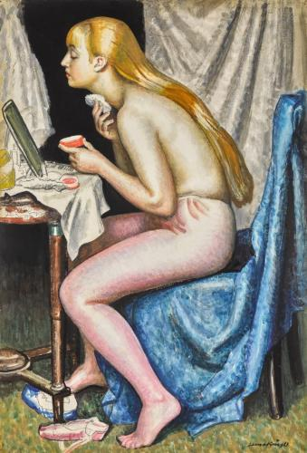 Dame Laura Knight, RA 1877- 1979  Girl with powder and puff  Watercolour and Gouache