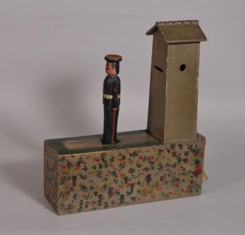 S/3338 Antique 19th Century Folk Art Decorated Pine Money Box