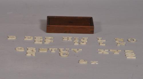 S/3346 Antique Treen 19th Century Ivory Alphabet in its Mahogany Box