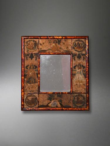 A very rare Charles II stumpwork mirror