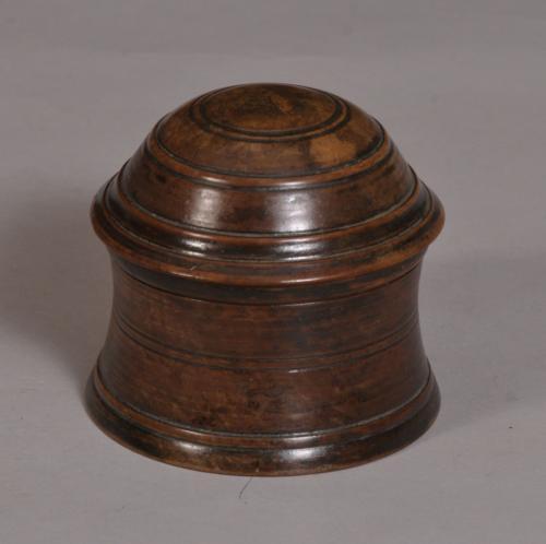 S/3355 Antique Treen 19th Century Fruitwood Salve Pot