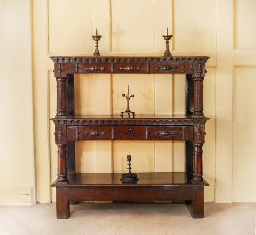 A Rare Small Charles I Oak Open Cup-Board or Buffet