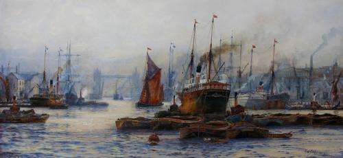 The Pool of London - Tower Bridge by Frederick William Scarborough
