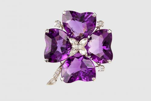 Amethyst and Diamond Four Leaf Clover Brooch mounted in Platinum, USA circa 1950