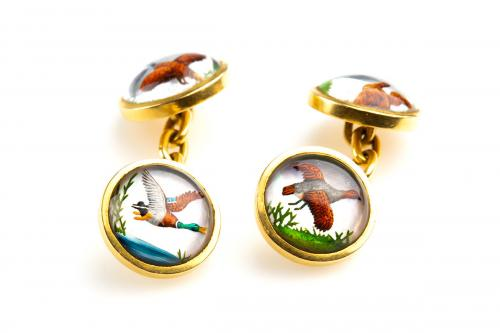 Antique Gold and Painted Crystal Cufflinks of Game Birds in Flight, English circa 1900