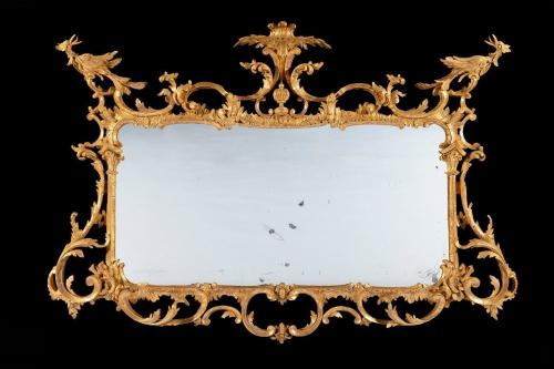 George III Carved Giltwood Chippendale Period Mirror  England  Circa 1770