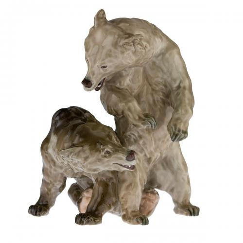 A porcelain Art Nouveau group of two bears decorated in underglaze enamels.  Modelled by Erich Hoesel for Meissen  Circa 1905