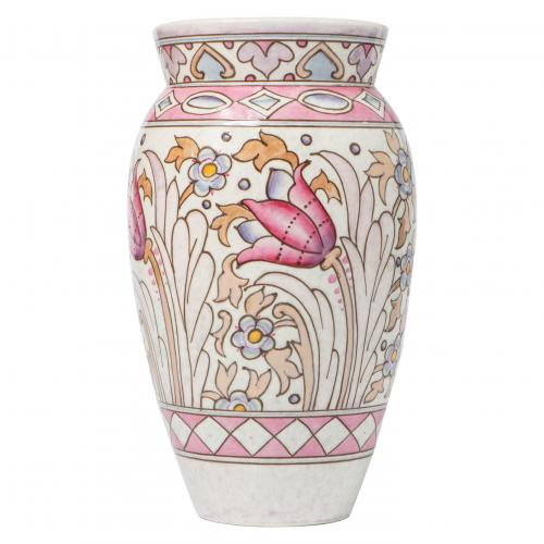 A large Charlotte Rhead pottery Vase decorated with tulips and various flowers in a palette of pink and blues
