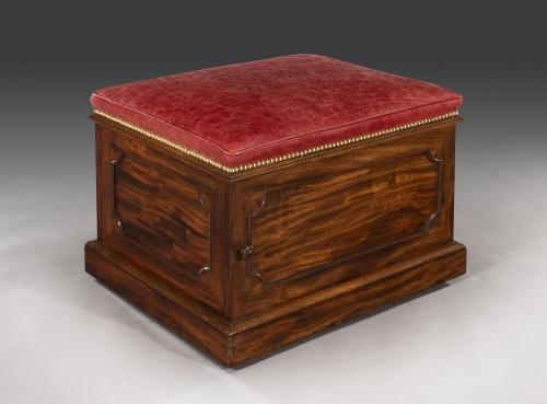 Early 19th Century William IV Period  Mahogany and Leather Box Stool English Circa 1835