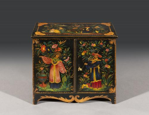 Exceptional Regency Period Polychrome Penwork Chinoiserie Table Cabinet attributed to George Wimpear English Circa 1820