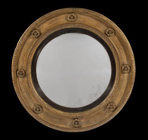 Late George III 18th Century Period Circular Gilt Wood  Mirror English Circa 1800