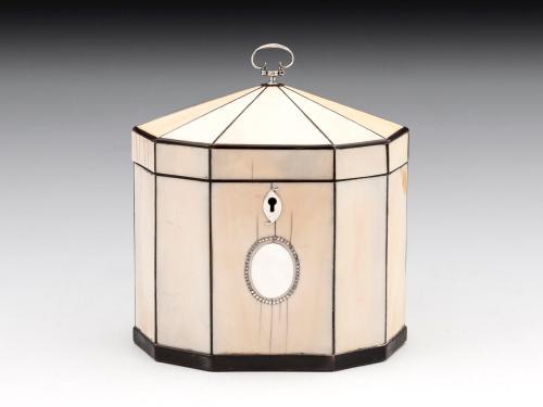 Late George III Period 18th Century Decagonal Shaped Ivory Tea Caddy English Circa 1800