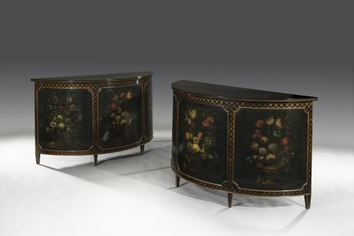 Pair of George III Style 19th Century Victorian Painted Demi-Lune Cabinets English Circa 1895