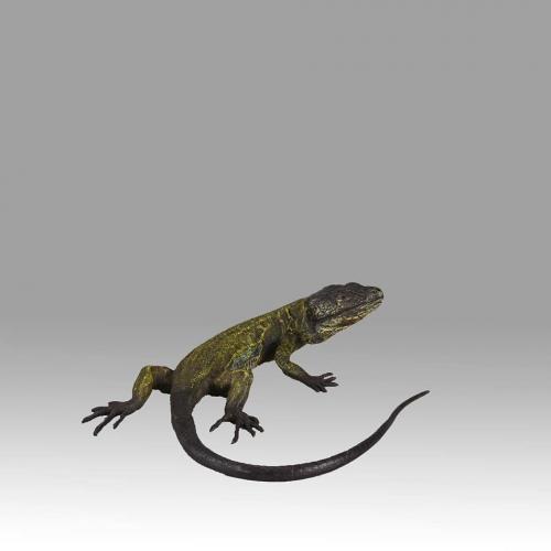 """Austrian Cold Painted Bronze Study """"Lizard"""" by Franz Bergman"""