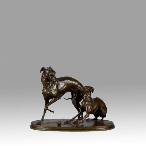 """French Animalier Bronze Group  """"Jiji and Giselle"""" by Pierre Jules Mêne"""