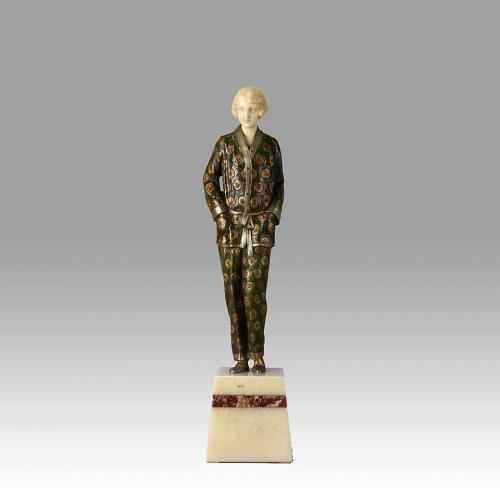 """Art Deco Cold Painted Bronze and Ivory Figure """"Pyjama Girl"""" by Georges Rigot"""