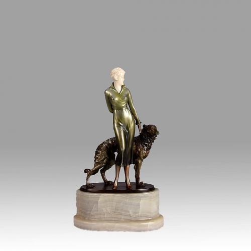 """Art Deco Cold Painted Bronze and Ivory Figure """"Lady & Borzoi"""" by Josef Lorenzl"""