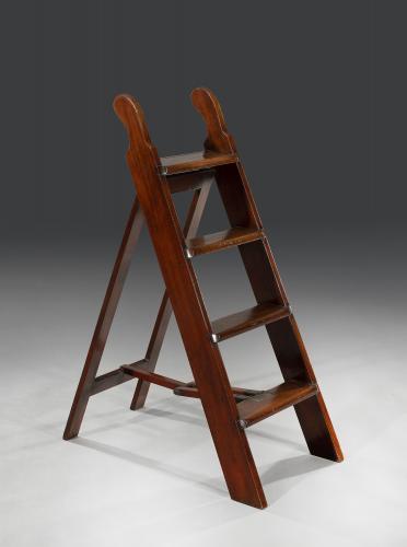 Rare Set of Early 19th Century Regency Period Mahogany Folding Library Steps English Circa 1820