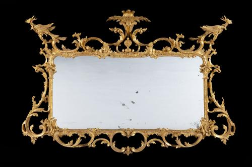 Early George III Carved Chippendale Period 18th Century Giltwood & Gilt Gesso Overmantel Mirror English Circa 1760