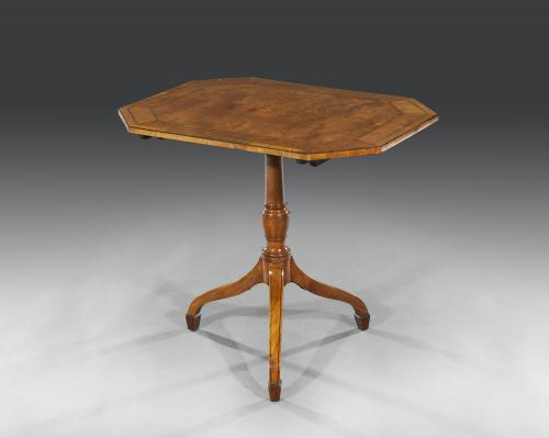 George III 18th Century Period Satinwood Octagonal Occasional Tilt-Top Table English Circa 1795