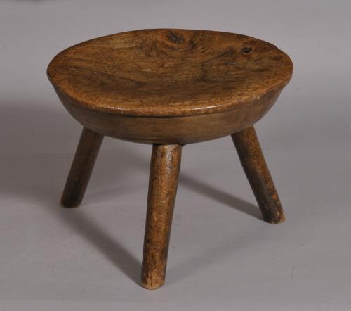 S/3381 Antique 19th Century Fruitwood Stool