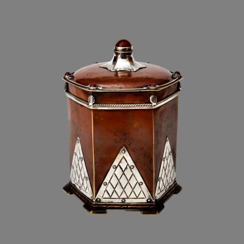 Arts and crafts copper, silver, agate tea caddy