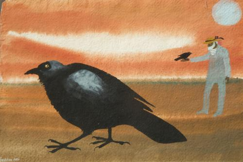 Mary Fedden RA 1915 - 2012 Julian with a Crow Watercolour and Gouache