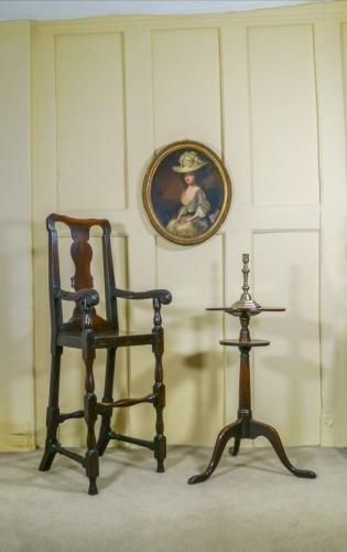 A William & Mary Oak High Chair and George II Oak Candlestand