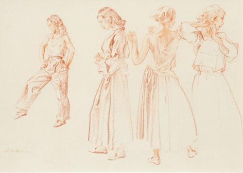 Sir William Russell Flint RA PRWS 1880 - 1969 Four Studies of Helen Red chalk on Paper