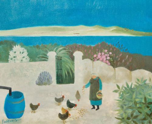 Mary Fedden RA 1915 - 2012 Feeding Chickens Oil on Board Dated 2001