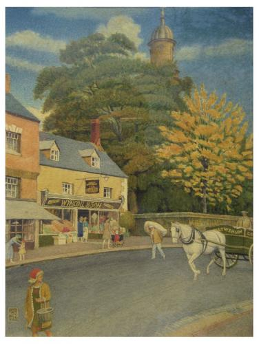 """Joseph Edward Southall RWS NEAC 1861-1944  """"Autumn in Banbury""""  Signed with monogram, dated 1935  Watercolour  11 x 8.25 inches"""