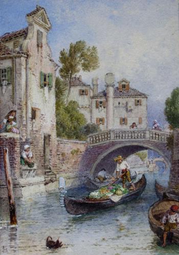 On a Venetian Canal, by Myles Birket Foster RWS 1825-1899